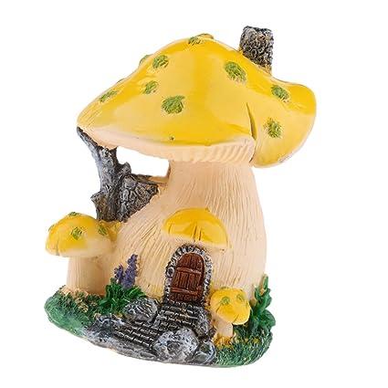 Fenteer Fairy Garden Mushroom House Miniature Statue Outdoor Figurine Garden  Decor   6
