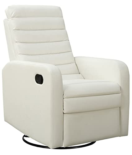 Charmant Monarch Specialties White Bonded Leather Swivel Glider Recliner