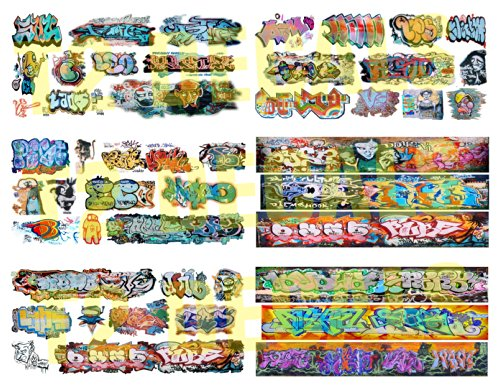 Scale Water Slide Decals - HO Scale Custom Graffiti Decals 8.5 x 11 MEGA SHEET #6