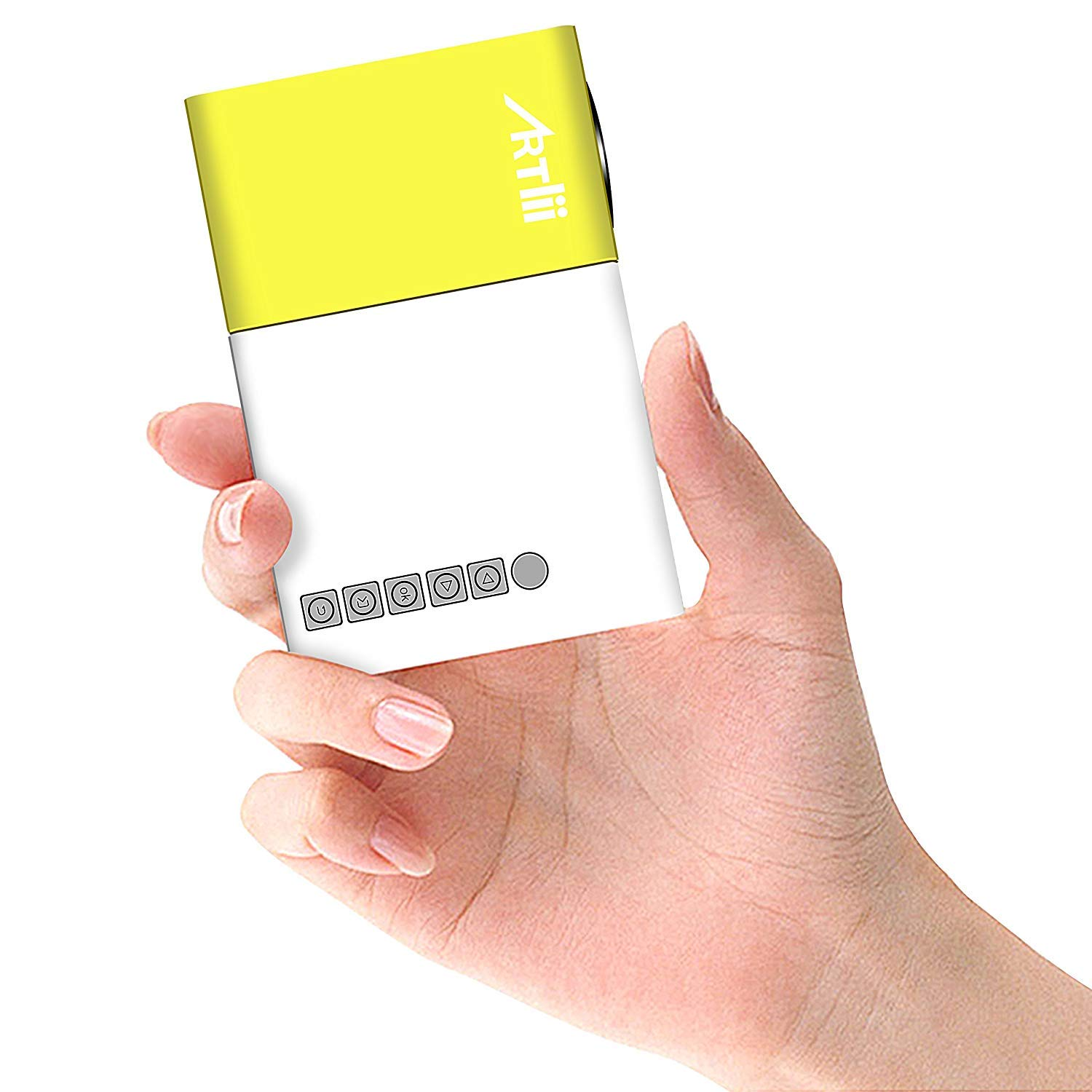 ABOUTTHEFIT Projector,Movie iPhone Mini Pocket Laptop Smartphone Projector  for Home Cinema Video Party - Yellow&White