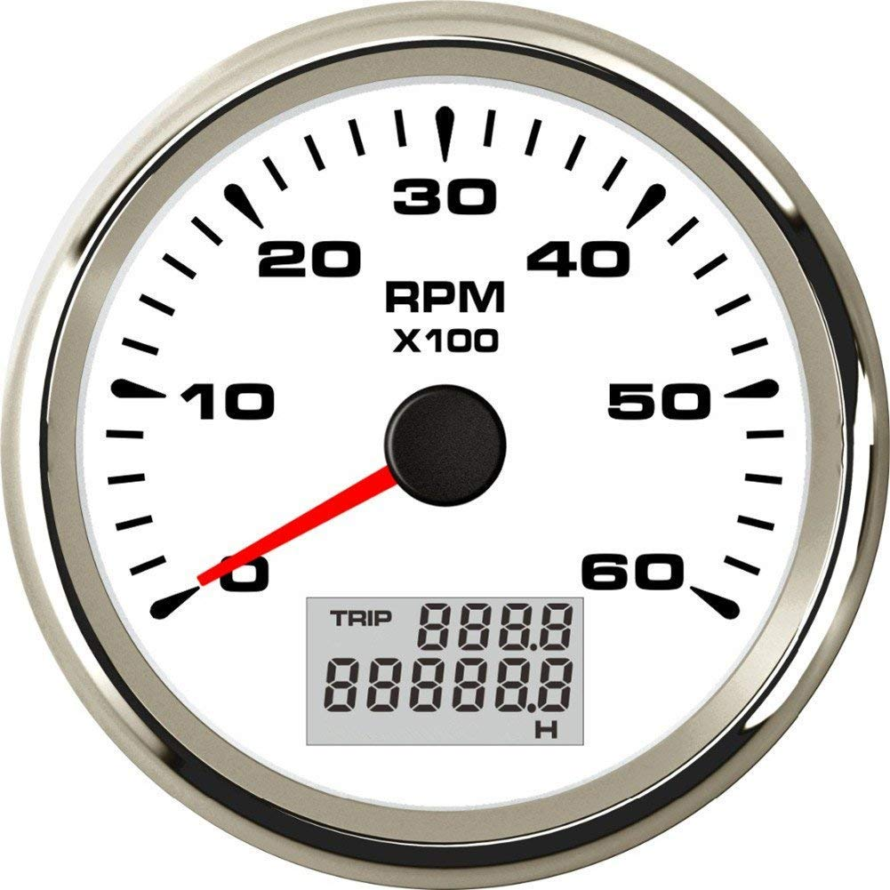 ELING Tachometer Tacho Gauge 6000RPM for Auto Marine Yacht Vehicle with 8 Colors Backlight 85mm 9-32V