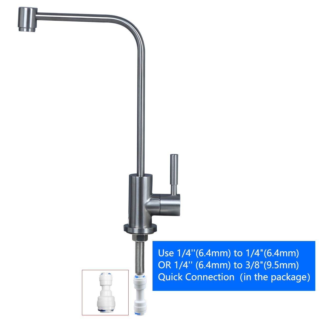 Stainless Steel Kitchen bar Sink Drinking Water filter Faucet, Fits all reverse osmosis water filtration system, Lead-Free, Brushed, Single Handle by MINGOR (Image #7)
