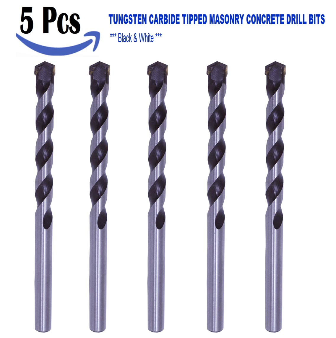 Concrete Drills Through Bricks Stones Tiles Max-Craft 3//16 Inch 10 Pcs Pack Masonry Drill Bit Concrete Carbide tipped Black//White finished Drywall and other Masonry Construction Work