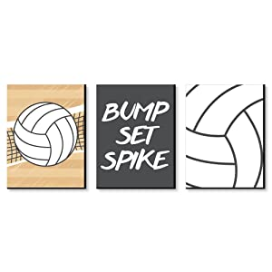 Big Dot of Happiness Bump, Set, Spike - Volleyball - Sports Themed Nursery Wall Art, Kids Room Decor and Game Room Home Decorations - Christmas Gift Ideas - 7.5 x 10 inches - Set of 3 Prints