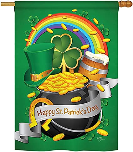 Amazon Com Breeze Decor Happy St Patrick S Day Spring Seasonal Impressions Decorative Vertical House Flag 28 X 40 Printed In Usa Garden Outdoor