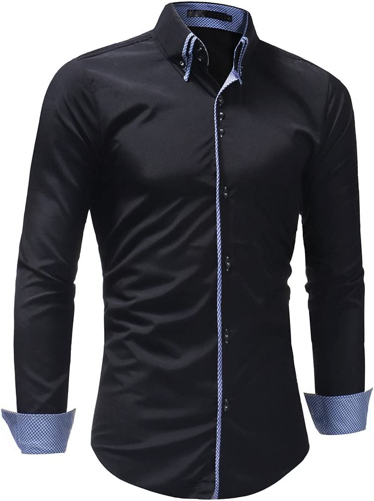 Wawer Casual Hombres Camisa, Hombre Formelle Slim Fit Mango Largo chemisestee Camiseta Sólido Plain Polo Blusa, M-3 X L, Negro, XXL: Amazon.es: Deportes y aire libre