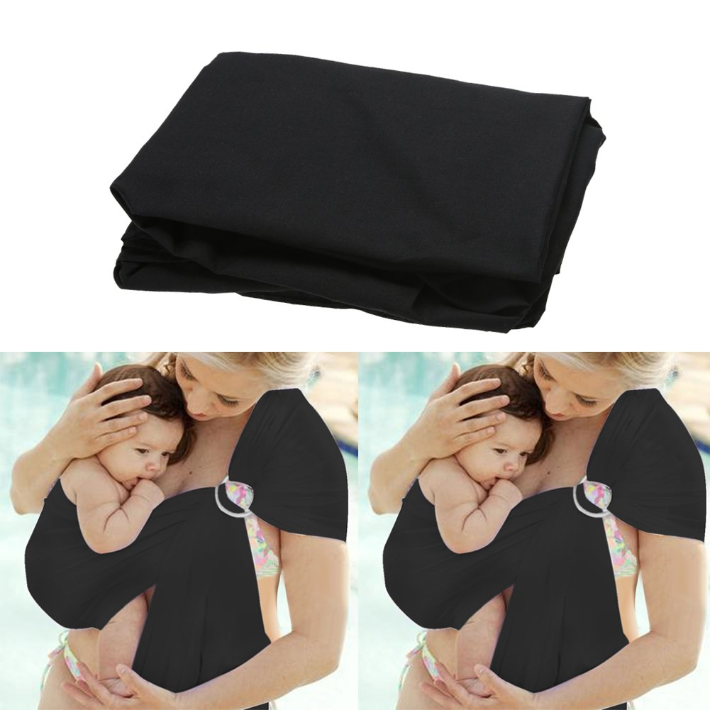 Baby Sling Infant Carrier Soft Breathable Wrap Cotton Breastfeeding Cover (Black) Amazingdeal