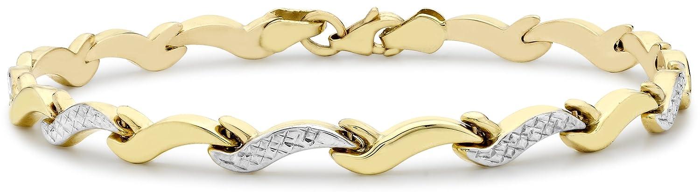 Carissima Gold 9 ct 2 Colour Gold Diamond Cut Wave Link Bracelet of Length 19 cm/7.5 inch htWyhKAvDw