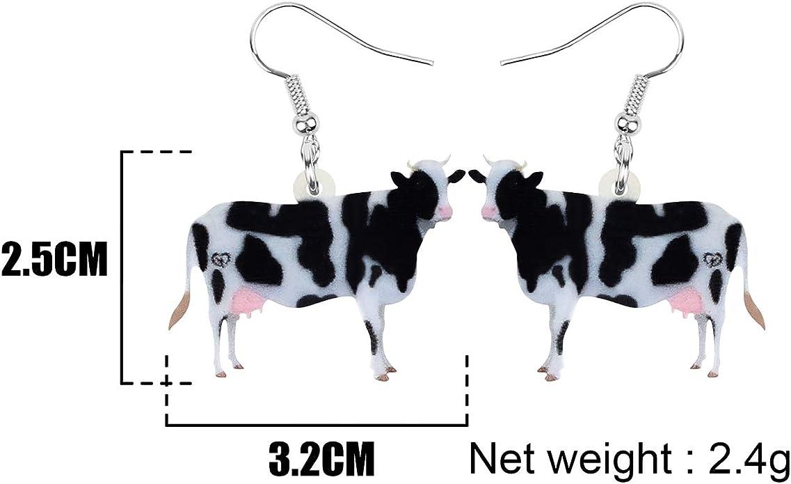 birthday gift for women dangle earrings Mother\u2019s Day gift Chain link earrings clay cow print earrings