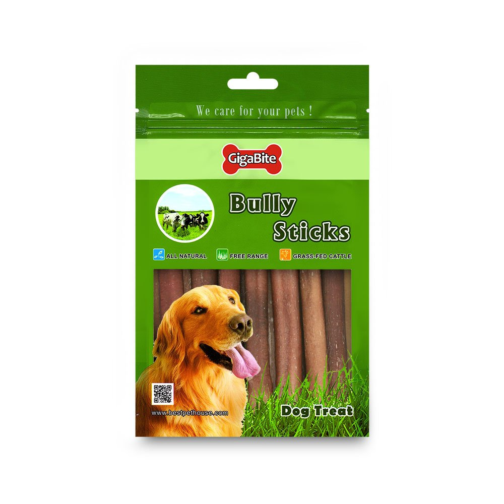 GigaBite by Best Pet Supplies - USDA & FDA Certified Odor-Free Medium Select Plain Beef Bully Sticks for Dogs - 100% All Natural Free Range Beef Pizzle- Healthy Dental Teeth Cleaning Dog Chews- Best Chewy Pet Treats (15 Pcs/Pack- 6 Inch)