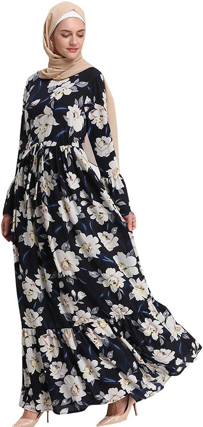 Lazzboy Moslemische Frauen-Lange Maxi-Kleid-Robe Abaya Islamische  Blume-Dubai-Strickjacke Ramadan Muslimische Langarm Frauen-langes  Maxi-Kleid