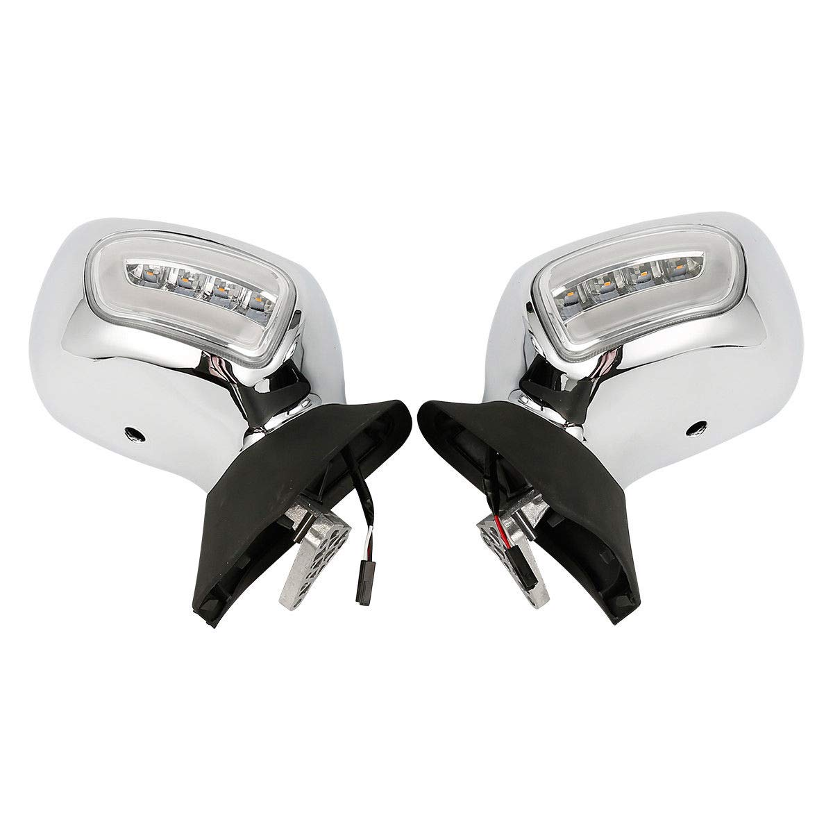 Rearview Mirrors + Orange/Clear Lens LED Turn Signals For Honda GL1800 F6B 13-17 (Chrome + Clear)