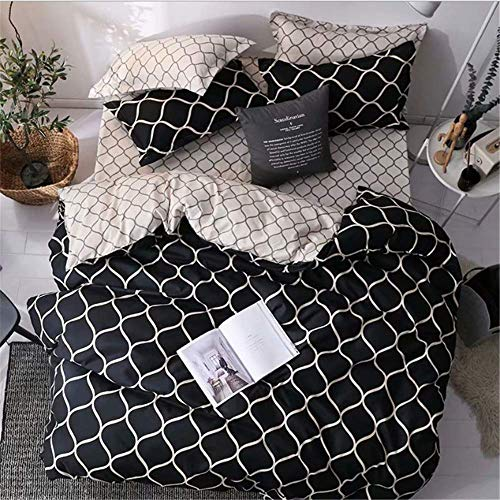 SSHHJ Soft Plaid Beddding Set Comforter Bedclothes Duvet Cover Bed Duvet Cover Set Queen B 260x230cm
