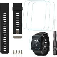 Reemplazo Banda de silicona y 3 PCS Protector de pantalla de cristal templado Compatible Reloj inteligente Garmin Forerunner 35, Correa de pulsera ajustable AFUNTA y Película antirrayas para 3 PCS - Negro