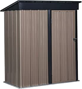 GDY 5 x 3 FT Steel Storage Shed, Backyard Metal Roof Lawn Building Garage