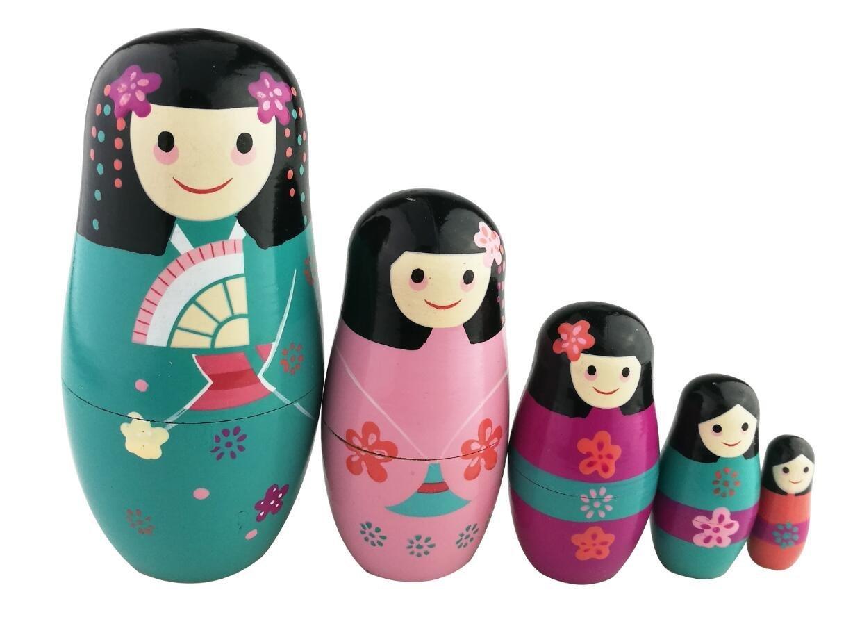 Set di 5 adorabili bambole giapponesi Kokeshi - con kimono - matrioske perfette come regalo Winterworm