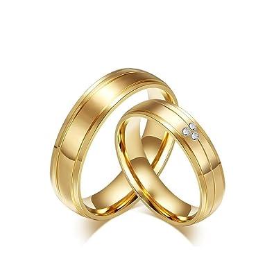 4810339923b BOBIJOO Jewelry - Alliance Bague Anneau Doré à l or Fin Acier Inoxydable  Mariage Couple Au Choix  Amazon.fr  Bijoux