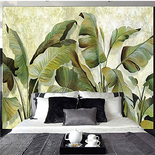 (1m² Custom Mural Wallpaper Southeast Asian Tropical Green Banana Leaf Wallpaper Bedroom Living Room Background Wall Decor Wallpaper)