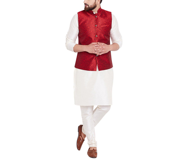 Sojanya Since 1958 Men's Jackquard Silk Designer Only Nehru Jacket