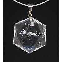Colgante forma Geometrica Hexagonal Cuarzo Blanco Minerales