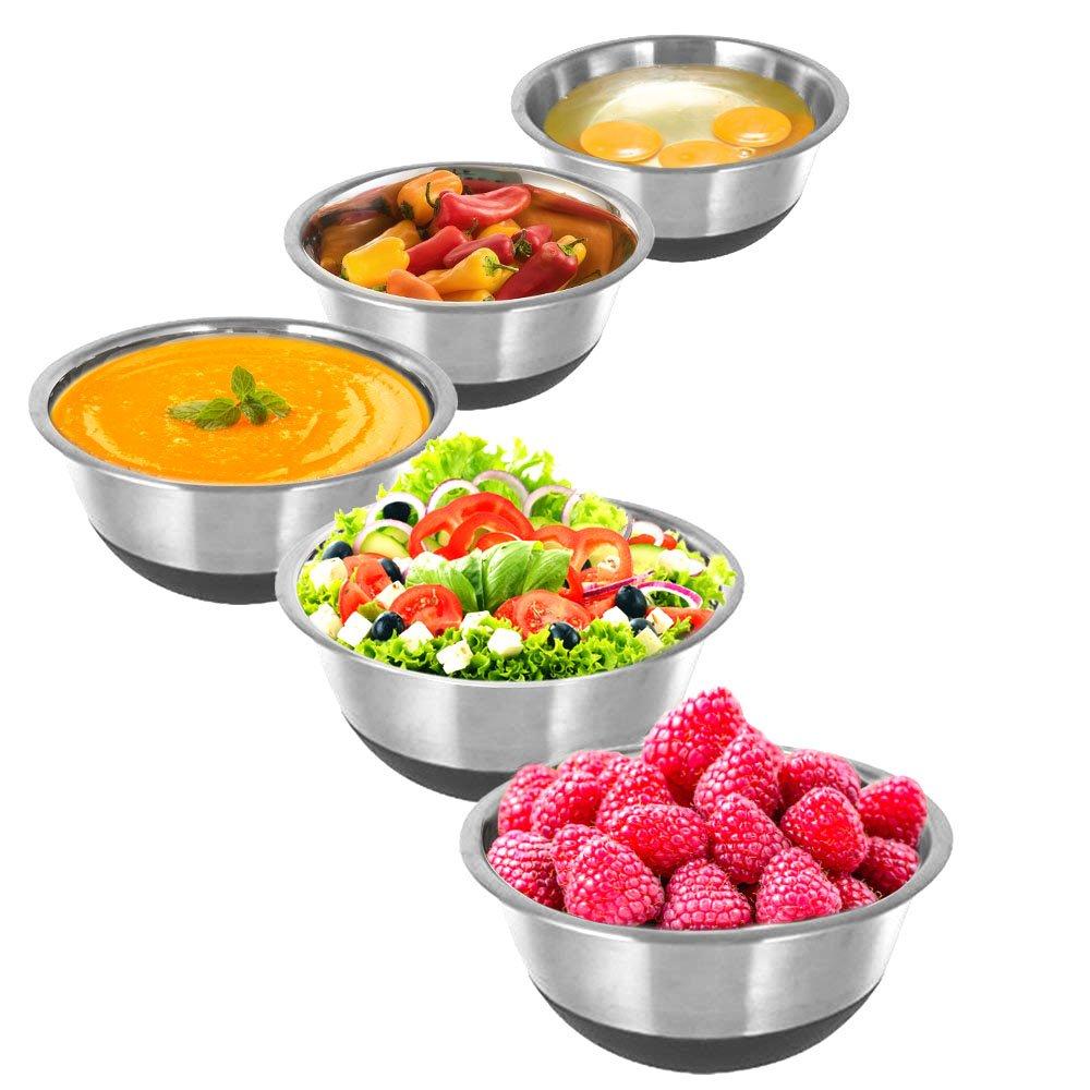 0,75 litre, 1 litre, 2 litres, 4 litres, 5 litres 16,18,22,26,28 cm Kosma Ensemble de 5 bols /à salade en acier inoxydable avec base antid/érapante en silicone Bol de service