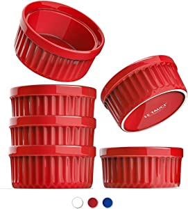 LE TAUCI Ramekins 4 Oz, Creme Brulee Dishes, Ramekin Set for Souffle, Dipping Sauces, Pudding, Set of 6, True Red