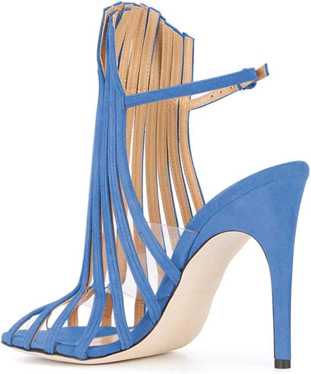 FSJ Women Peep Toe High Heel Bootie Pumps Stiletto PVC Dress Ankle Straps Sandals Slingback Buckle Shoes Size 4-15 US