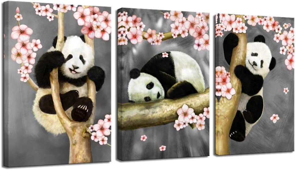 sechars - Animal Canvas Wall Art Modern Animals Painting Pandas Playing on Trees Branches Wall Decal Stretched and Framed Artwork for Kids Bedroom Living Room Decor
