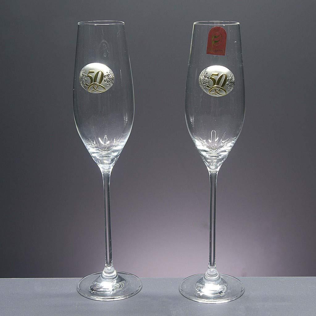 Aniversarios Aplique bilaminado. Set de 2 Copas de Cristal para champ/án Bandeja de Cristal centrada Bodas de Plata//Oro para Novios colecci/ón CELEBRATION-25 Aniversario