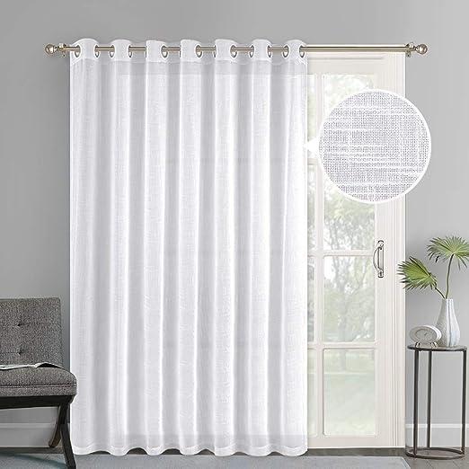 Amazon Com Nicetown Linen Like Patio Door Curtains Extra Wide Grommet Top Semi Voile Drape Sheer Panels For Sliding Glass Door White W100 X L84 1 Panel Home Kitchen