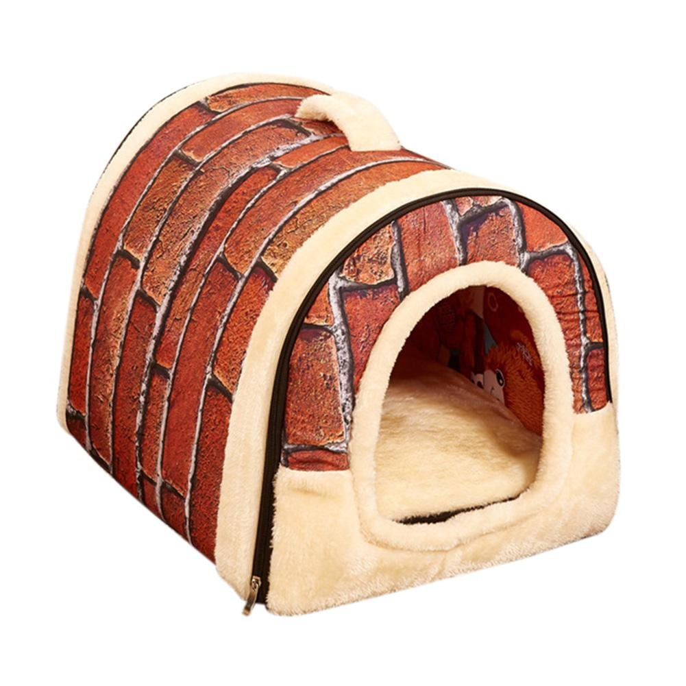 6 Foldable Pets Bed Nest House Warm with Mat for Pet Dogs Cats(Bean Red)(S)