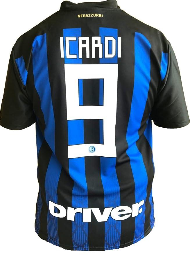 Camiseta Jersey Futbol Inter Mauro Icardi 9 Replica Oficial Autorizado 2018-2019 Niños (2,4,6,8,10,12 año) Adultos (Small, Medium, Large, Xlarge)