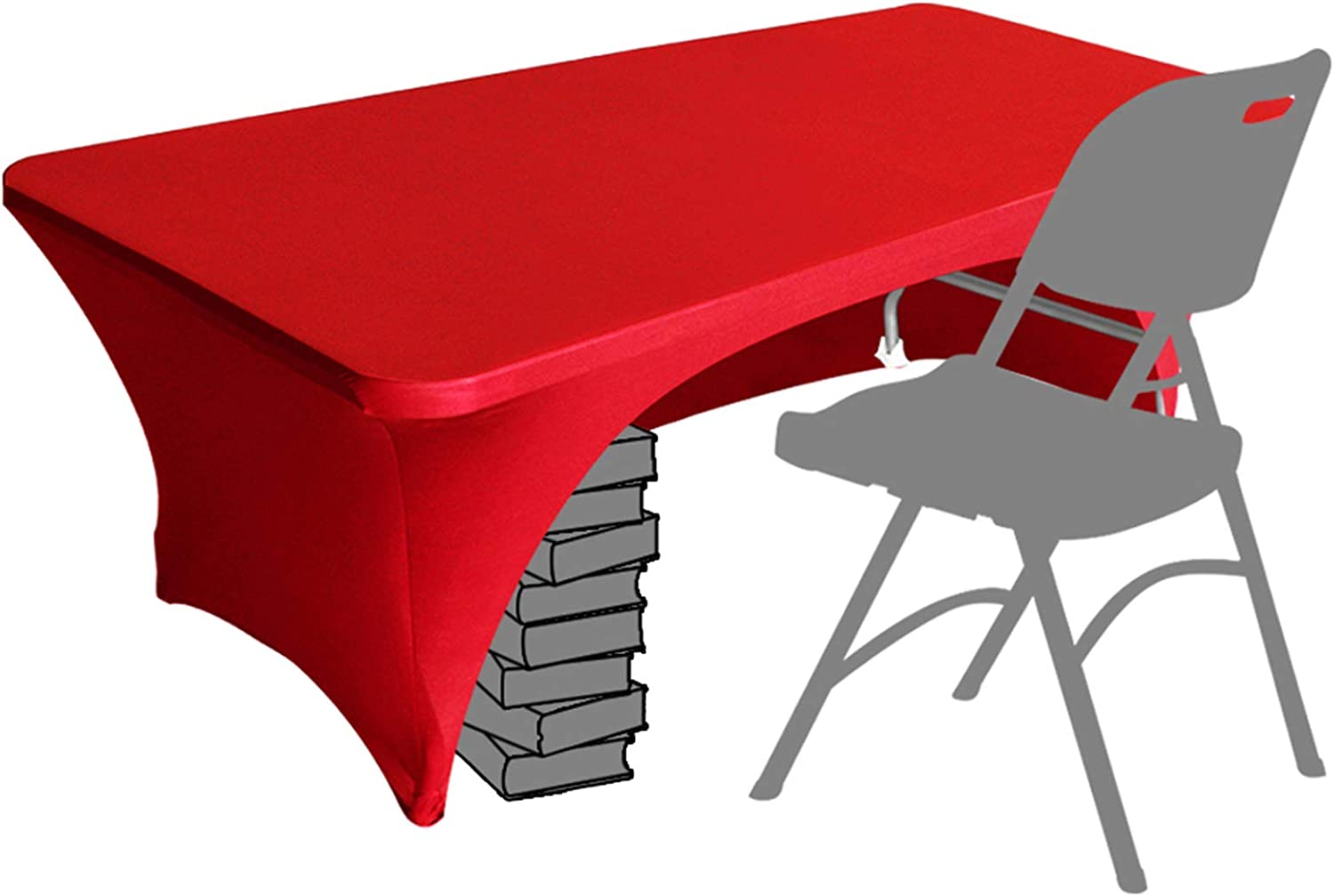 Eurmax Spandex Table Cover 6 ft. Fitted 30+ Colors Polyester Tablecloth Stretch Spandex Table Cover-Table Toppers,6 FT Table Cover Open Back(6Ft,Red)