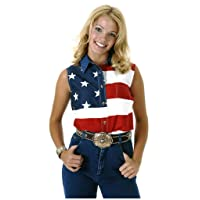 Roper Women's S/L Stars and Stripes Pieced Flag