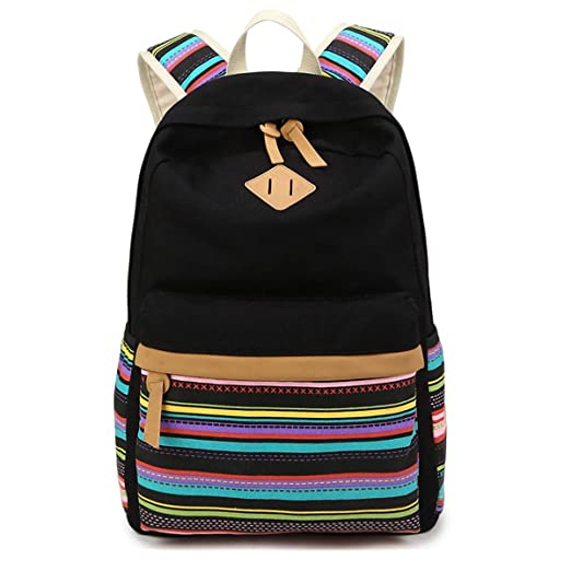 a37da5fc7d54 Backpack Canvas Stripe Backpack with USB port Cute Daypack Teen Leisure  Bookbag For Girls Boys School Bag Laptop College Bags