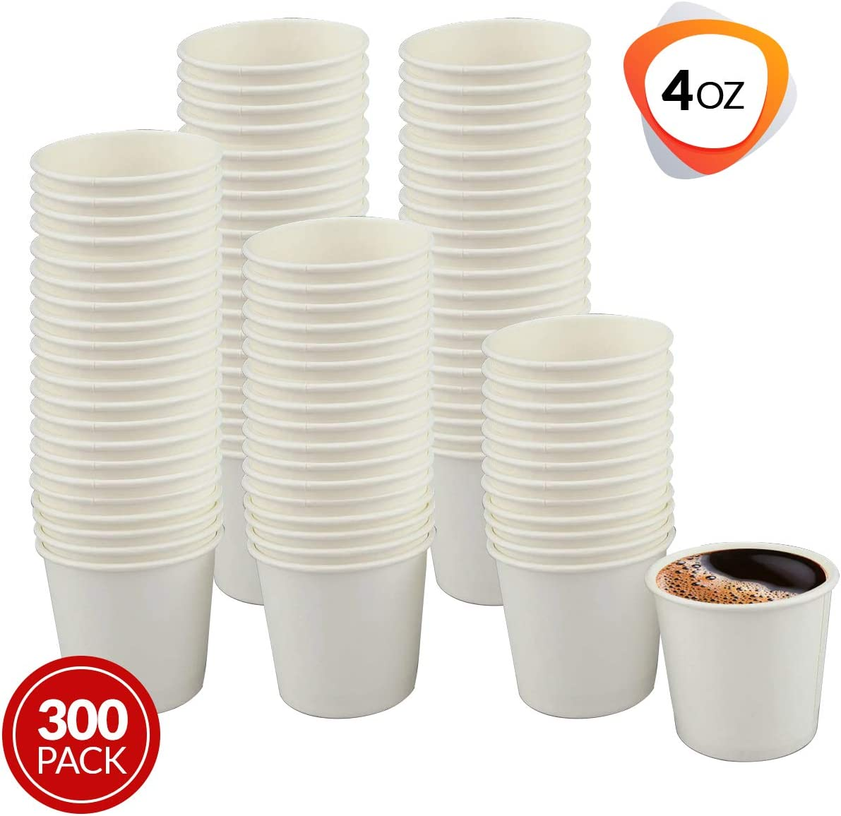 Netko White 4 Oz Paper Cups - Disposable Coffee Cups | Beverage Drinking Paper Glass for Water, Juice, Tea 300Pack