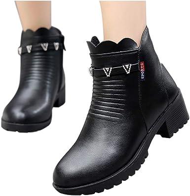 Berimaterry Mujeres Damas Moda Algodón Cálido Botas Cortas Casual Cuero PU Zapatos Individuales De TacóN Alto Vaca ...