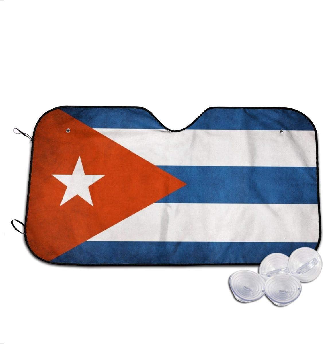 YJWLO Parabrisas de Coche con Bandera Cubana Plegable y Reflector UV para Ventana Delantera con Protector Solar con Dos tama/ños