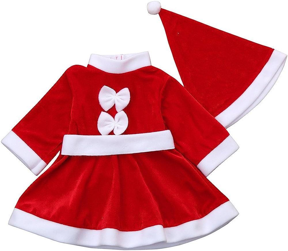 LuckyGirls Niño Niño Bebé Niña Ropa de Navidad Traje Bowknot Vestidos de Fiesta + Traje de Sombrero
