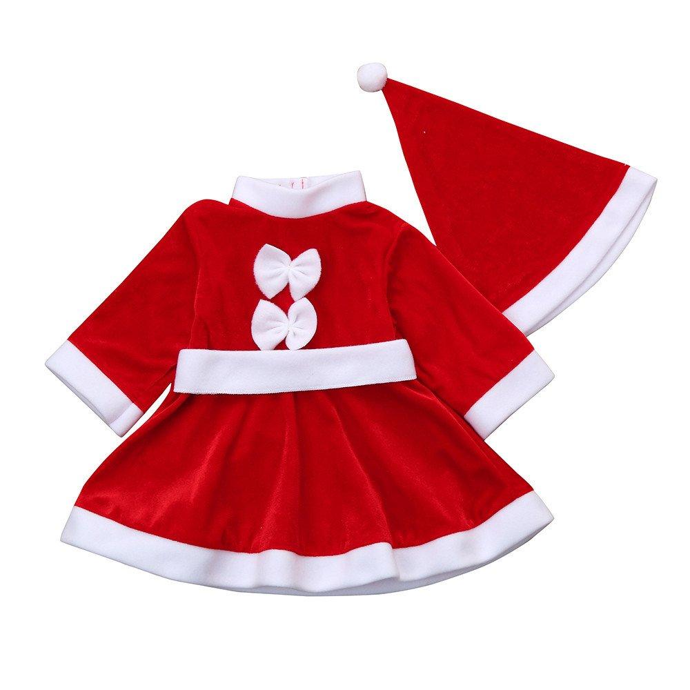 Baby outfits Set Jamicy® Kleinkind Kind Baby Mädchen Weihnachten Kleidung Baumwolle Feste Pullover Bogen Kostüm Bowknot Party Kleider + Hut Outfit