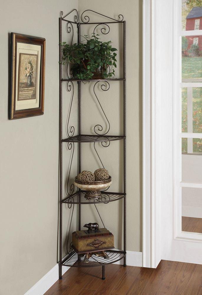 Corner Bookcase with Decorative Scrolls Copper Monarch Specialties 910035