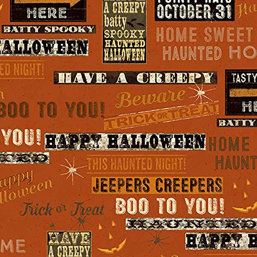 Clothworks Fabrics Jeepers Creepers Halloween Signs and Phrases Red]()