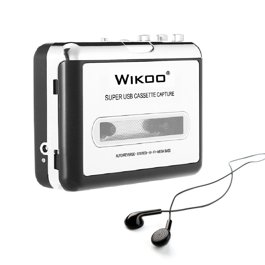 Wikoo Cassette Tape to MP3 CD converter via USB, Portable USB Cassette Tape Player Walkman Captures MP3 Audio Music -Compatible with Laptops and PC, Convert Tape Cassettes to MP3 Format
