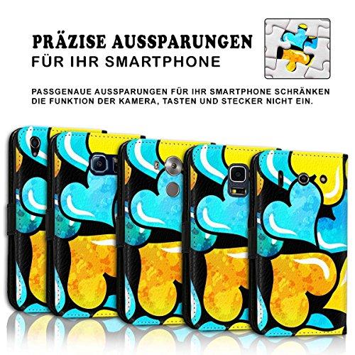 Wallet Book Style Flip Handy Tasche Case Schutz Hülle Schale Motiv Etui für Apple iPhone 5 / 5S - Design Flip MVD174