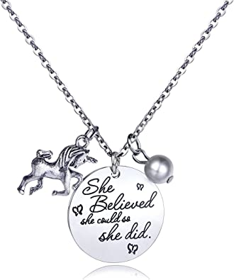 danjie Stainless Steel Horse and Pearl Pendant Necklace Letter Tag Necklace She Believed She Could So She Did Pendant for Girl and boy Inspirational ...