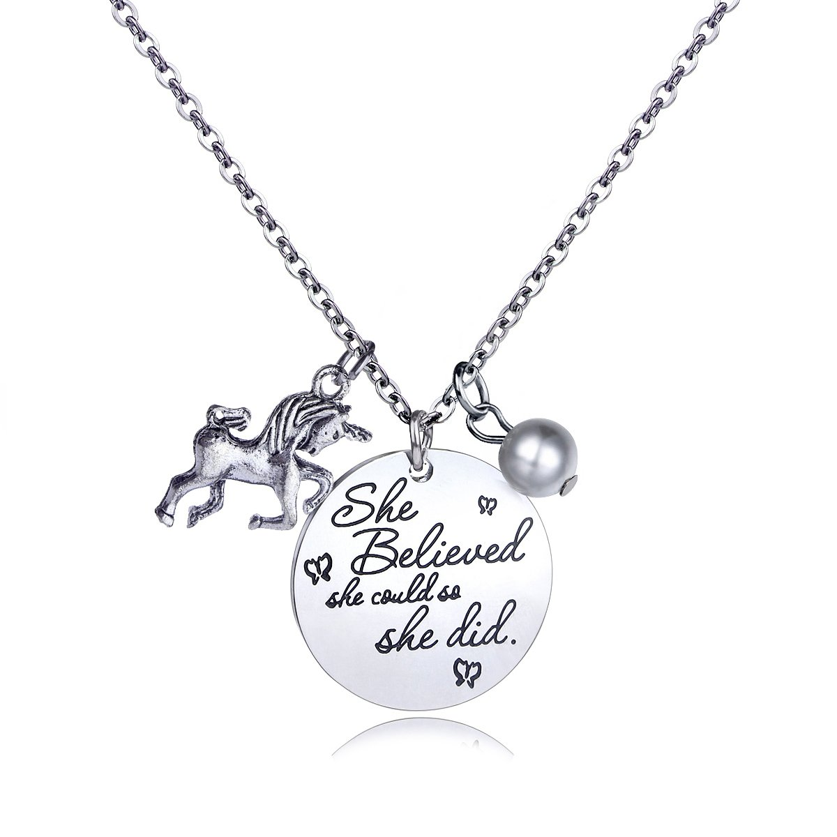 Stainless Steel Horse And Pearl Pendant Necklace Letter Tag Necklace''She Believed She Could So She Did''pendant for girl and boy Inspirational gift