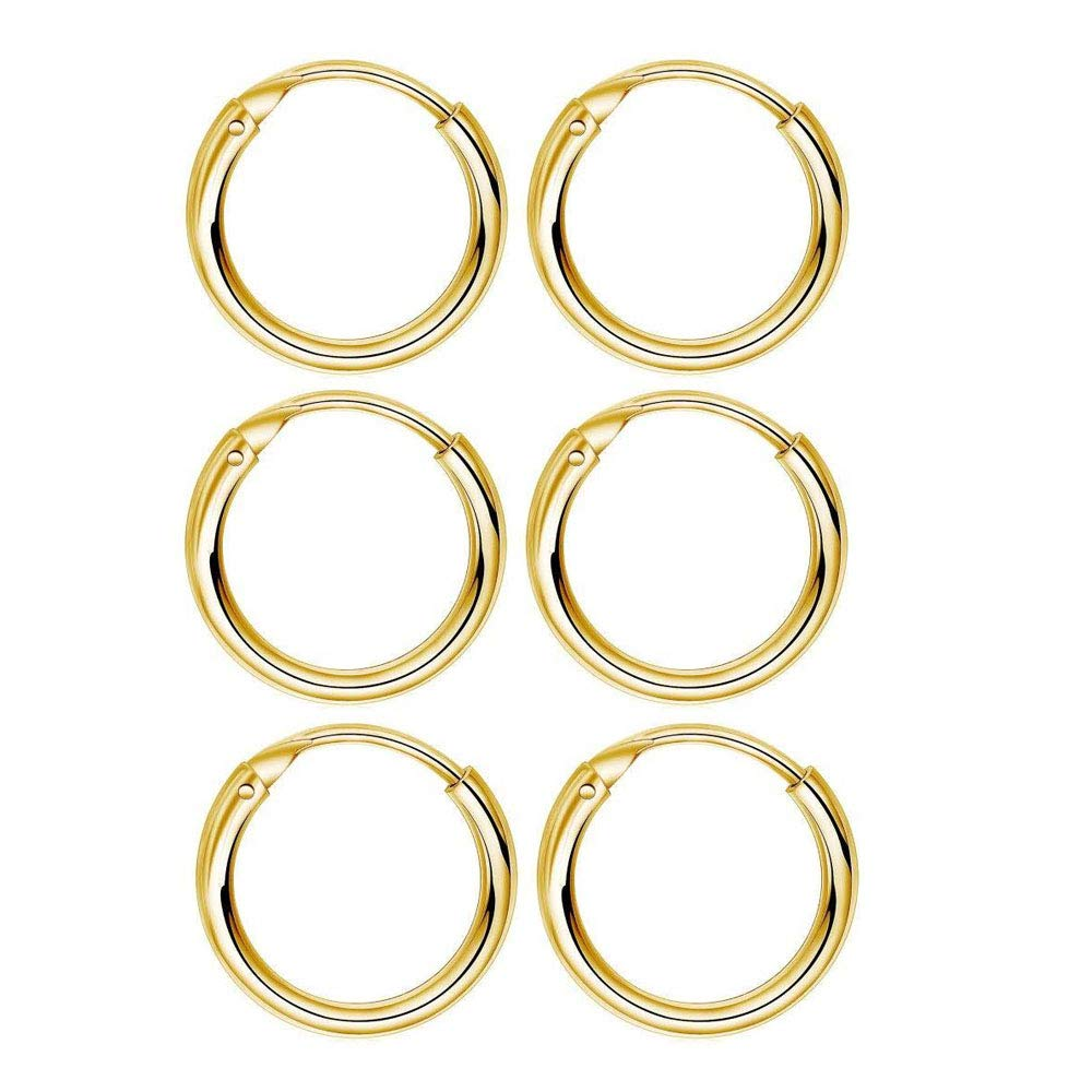 eca00bb5e4a599 Amazon.com: 3 Pairs 10mm Small Hoop Earrings Sterling Silver 14K Gold  Plated Cartilage Earrings Set Hypoallergenic Endless Huggie Tragus Helix  Earrings for ...
