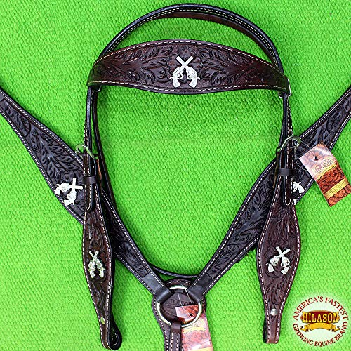 HILASON Western Leather Headstall Breast Collar Brown Cross Gun Concho ()