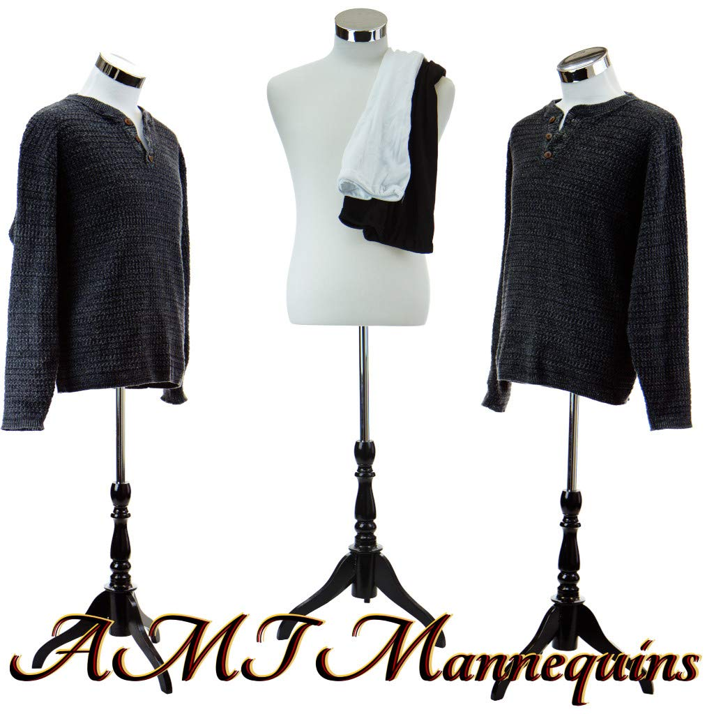 Male Dress Form Torso with BLACK Wood Stand and Jerseys by AMT Mannequins