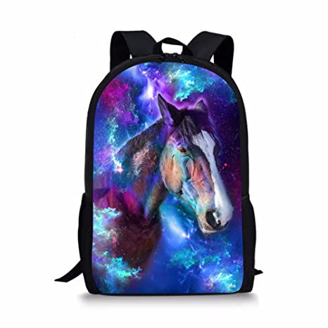 88aa341a36e7 Boys Middle School Backpack Cool Galaxy Horse Printed Customized School  Book Bag